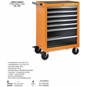 TROLLEY 7 DRAWERS - rubber...