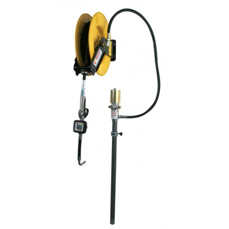Pneumatic oil kit for drums 205 l with wall hose reel