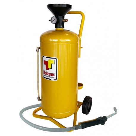 Air operated oil dispenser wheel mounted, reservoir capacity 24 liters