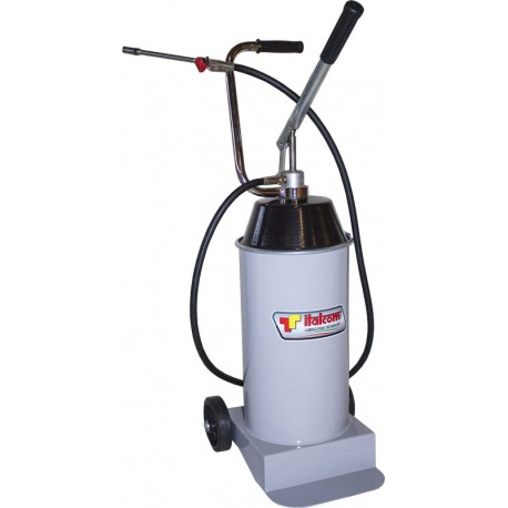 Wheel mounted manual grease pump, lever operated, reservoir capacity 15 kg